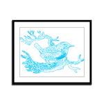 Old Line Drawing Bird Framed Panel Print