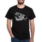 Old Line Drawing Bird Dark T-Shirt