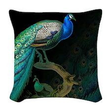 Vintage Peacock Woven Throw Pillow