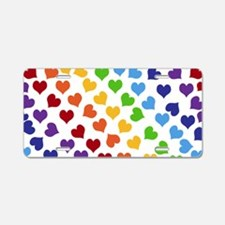 Colorful Rainbow Hearts Aluminum License Plate