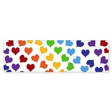 Colorful Rainbow Hearts Bumper Bumper Sticker