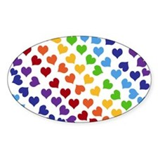 Colorful Rainbow Hearts Decal