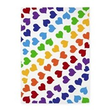 Colorful Rainbow Hearts 5'x7'Area Rug