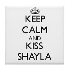 Keep Calm and kiss Shayla Tile Coaster