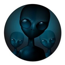 Friendly Blue Aliens Round Car Magnet
