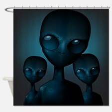 Friendly Blue Aliens Shower Curtain