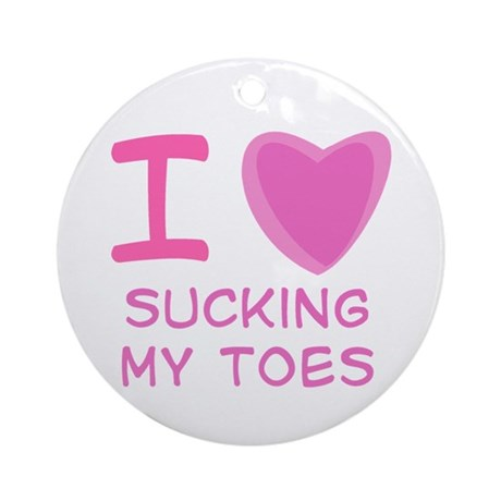 Pink I Heart (Love) Sucking My Toes Ornament (Roun