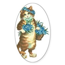 Cat with Basket of Blue Flowers Decal