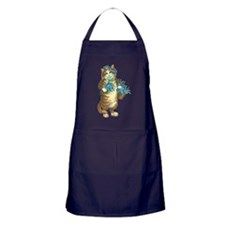 Cat with Basket of Blue Flowers Apron (dark)