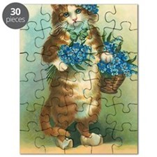 Victorian Kitty with Blue Flowers Puzzle