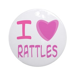 Pink I Heart (Love) Rattles Ornament (Round)