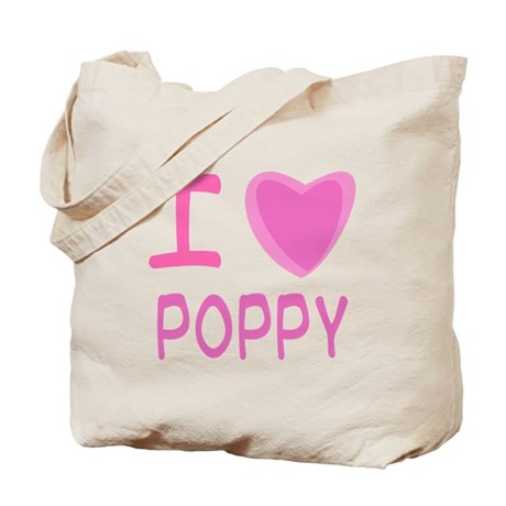 Pink I Heart (Love) Poppy Tote Bag