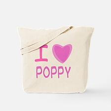Pink I Heart (Love) Poppy Tote Bag