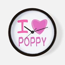 Pink I Heart (Love) Poppy Wall Clock