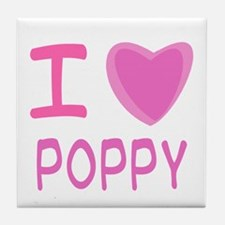 Pink I Heart (Love) Poppy Tile Coaster