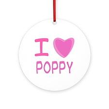 Pink I Heart (Love) Poppy Ornament (Round)