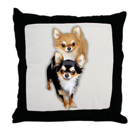 Chihuahua long Coat Duo Throw Pillow