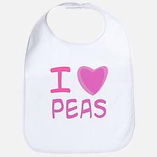 Pink I Heart (Love) Peas Bib