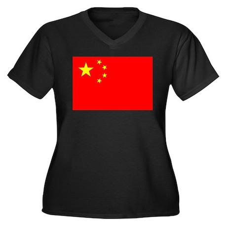 China Flag Women's Plus Size V-Neck Dark T-Shirt