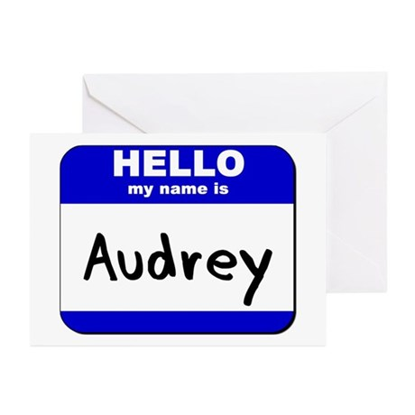 hello my name is audrey Greeting Cards (Package o
