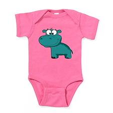 Blue Happy Hippo Baby Bodysuit