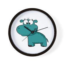 Blue Happy Hippo Wall Clock