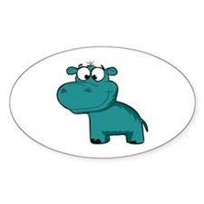 Blue Happy Hippo Decal