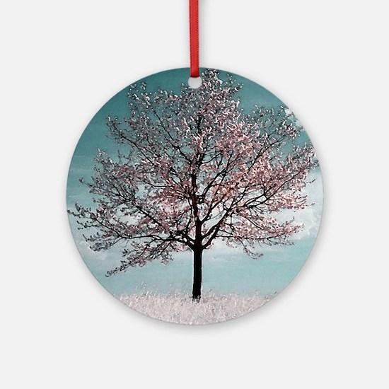Pink Cherry Blossom Tree Round Ornament