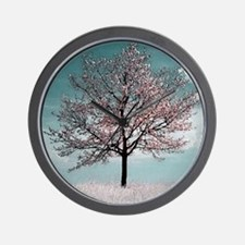 Pink Cherry Blossom Tree Wall Clock
