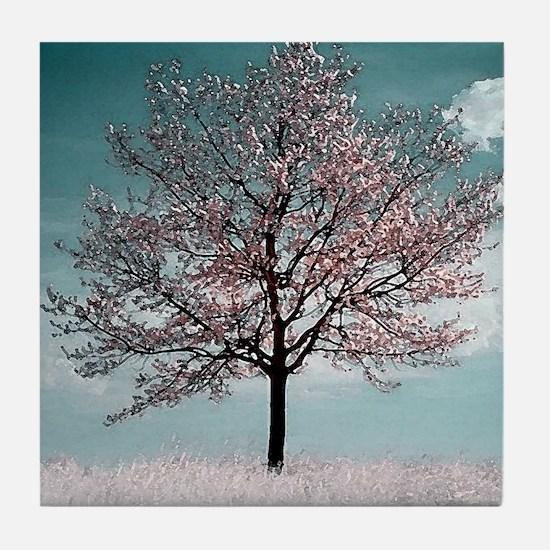 Pink Cherry Blossom Tree Tile Coaster