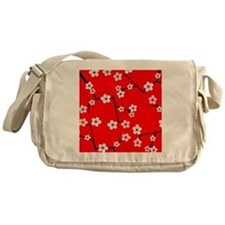 Cherry Blossom Red and Pink Messenger Bag