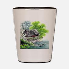 Oriental Hut by the Riverside Shot Glass