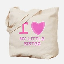 Pink I Heart (Love) My Little Sister Tote Bag