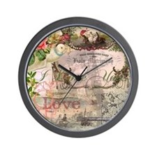 Marriage Collage Vintage Wedding Floral Wall Clock