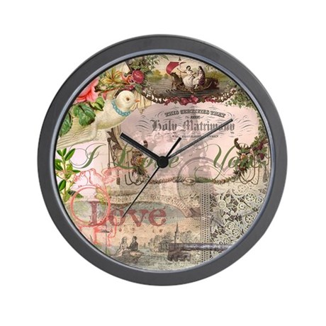 Marriage Collage Vintage Wedding Floral Wall Clock by ...