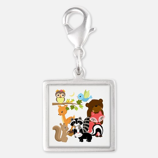 Forest Friends Silver Square Charm