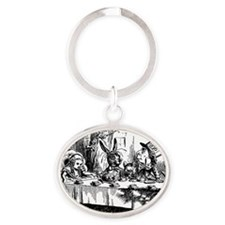 Alice In Wonderland Tea Party Oval Keychain