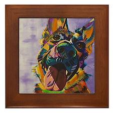 German Shepherd Pup Art Framed Tile