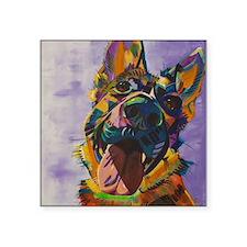 "German Shepherd Pup Art Square Sticker 3"" x 3"""