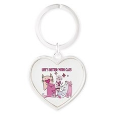 Life's Better With Cats Heart Keychain