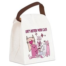 Life's Better With Cats Canvas Lunch Bag