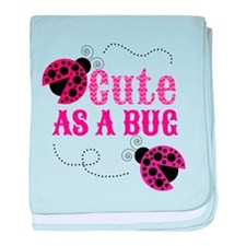 Cute as a bug ladybug girl design baby blanket