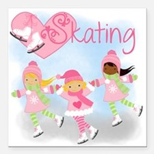 "Love Skating Square Car Magnet 3"" x 3"""