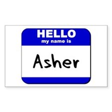 hello my name is asher Rectangle Decal