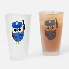 Owl Police Officer Drinking Glass