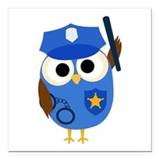 "Owl Police Officer Square Car Magnet 3"" x 3"""