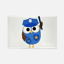 Owl Police Officer Rectangle Magnet