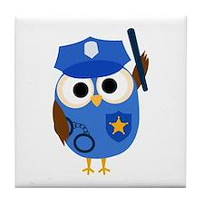 Owl Police Officer Tile Coaster
