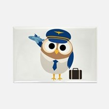 Owl Airplane Pilot Rectangle Magnet