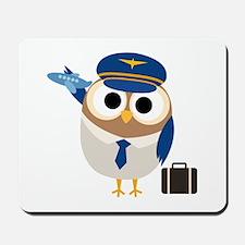 Owl Airplane Pilot Mousepad